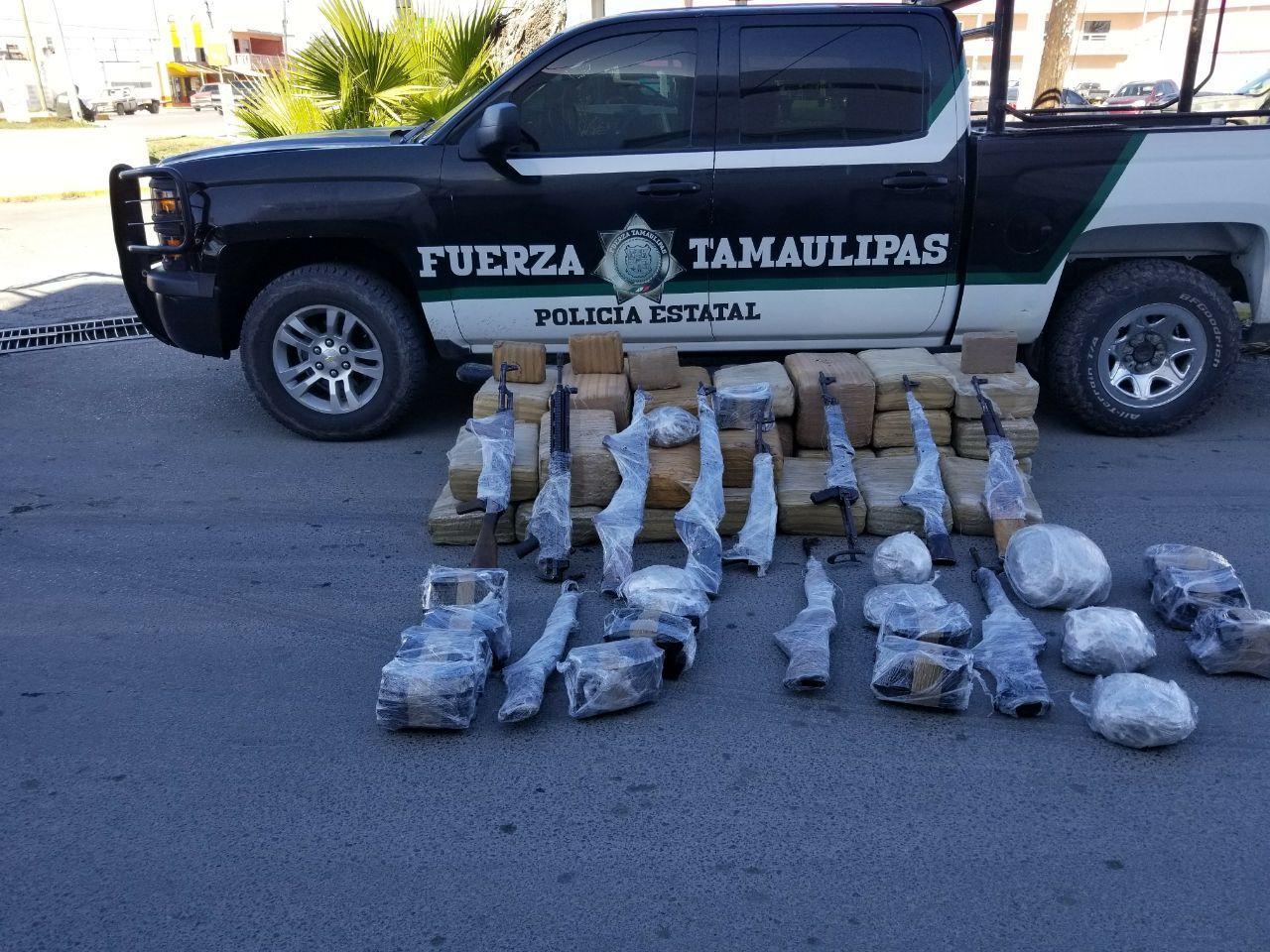 Aseguran armas y droga